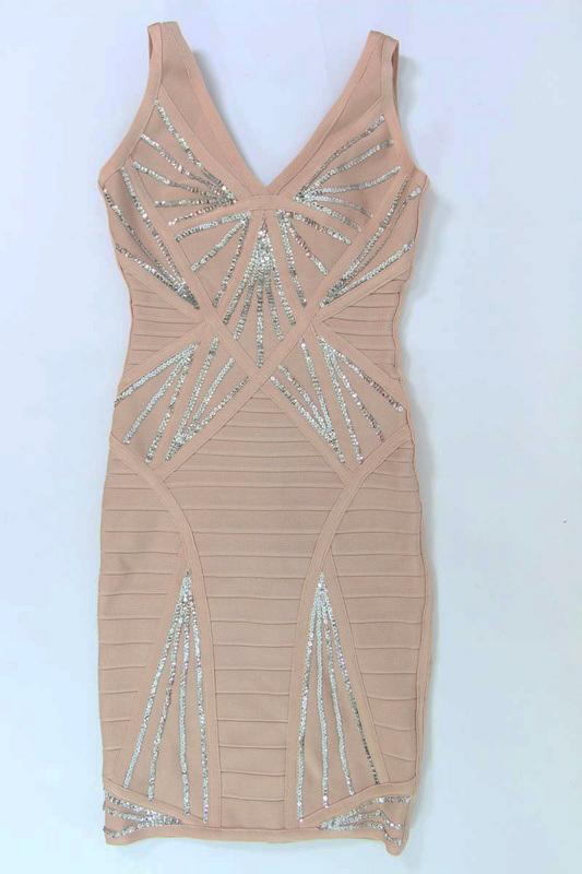 Shiny Sequins V Neck Sleeveless Bandage Dress