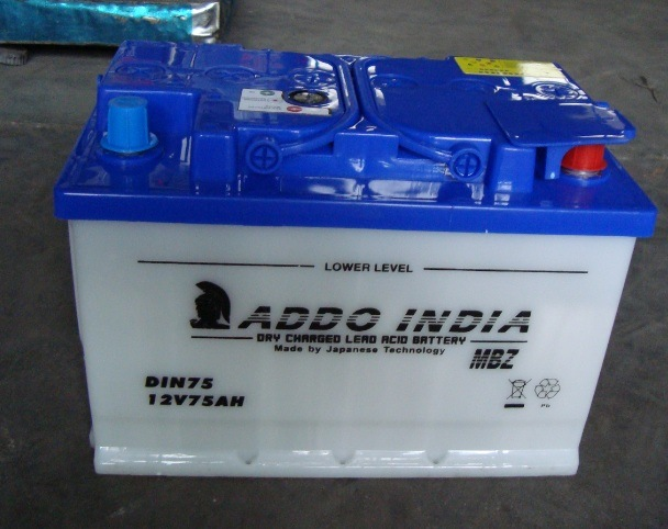 DIN75 12V75ah Lead Acid Dry Charged Rechargeable Car Storage Battery