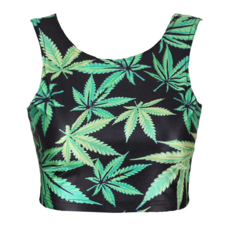 Ladies Sexy Marijuana Pot Weed Dope Summer Tank Top (JP-2015T242)