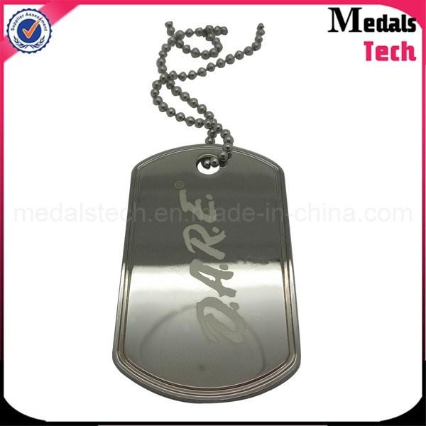 Zinc Alloy Custom Metal Shiny Silver Finish Military Dog Tags