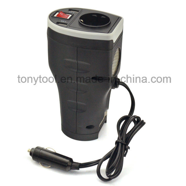 DC 12V Car Power Inverter with 2 AC Outlets and 3.1A Dual USB Charging Ports