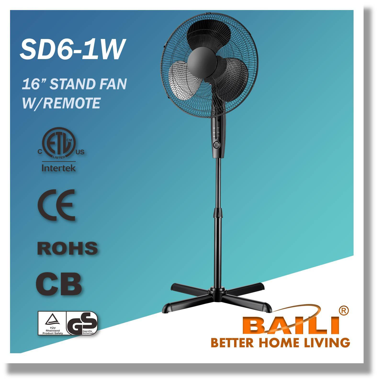 "16"" Oscillating Cooling Stand Fan with Remote Control, 7.5 Hours Timer"