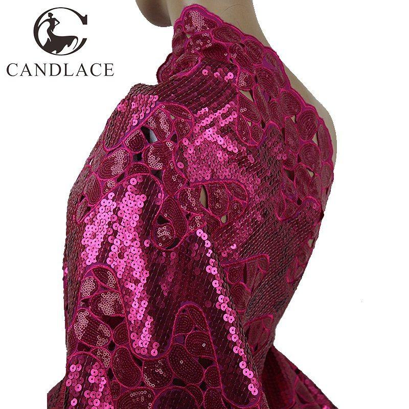 Fushia Pink Double Handcut Sequins Organza Lace