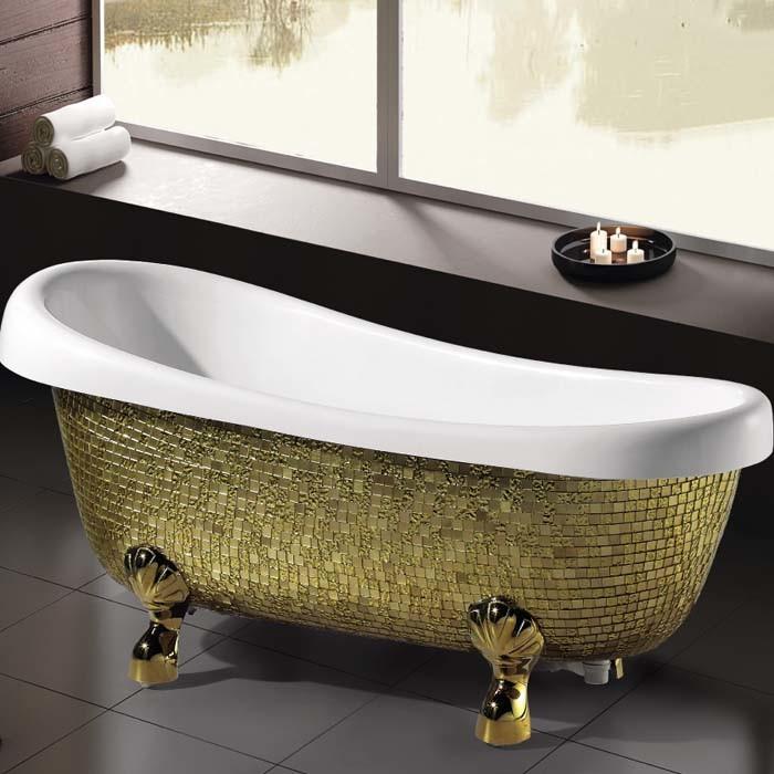 Freestanding Classic Bathtub with Golden Mosaic (K1521)