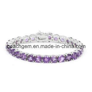 Fashion Silver Amethyst Jewelry Bracelet (BR0015)
