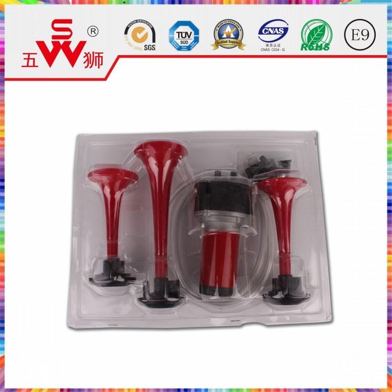Car Horn Red Three-Way Air Horn