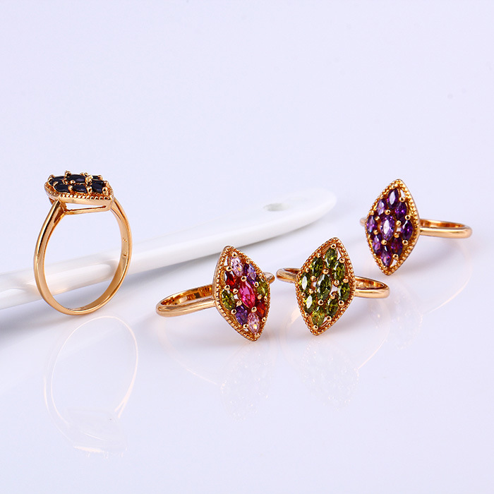 11796 Popular 18k Gold-Plated Flower Colorful Zircon Jewelry Finger Ring in Copper Alloy