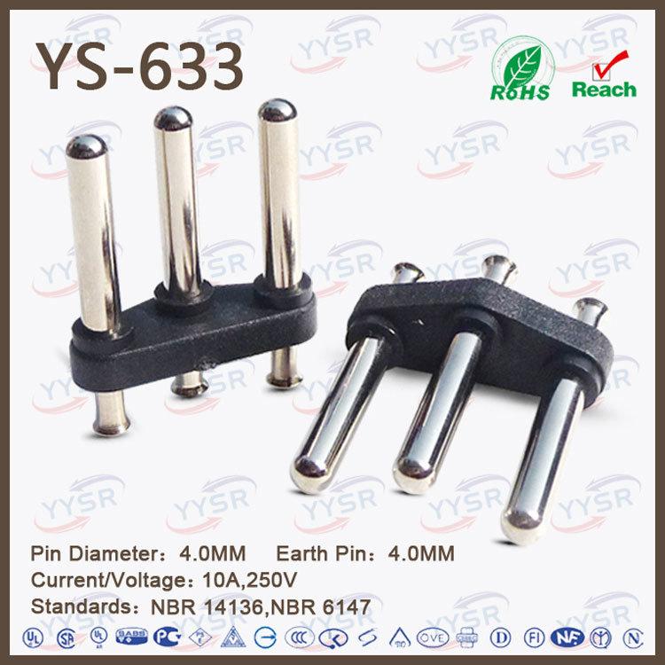 Yysr-633 Brasil 3 Pin Plug