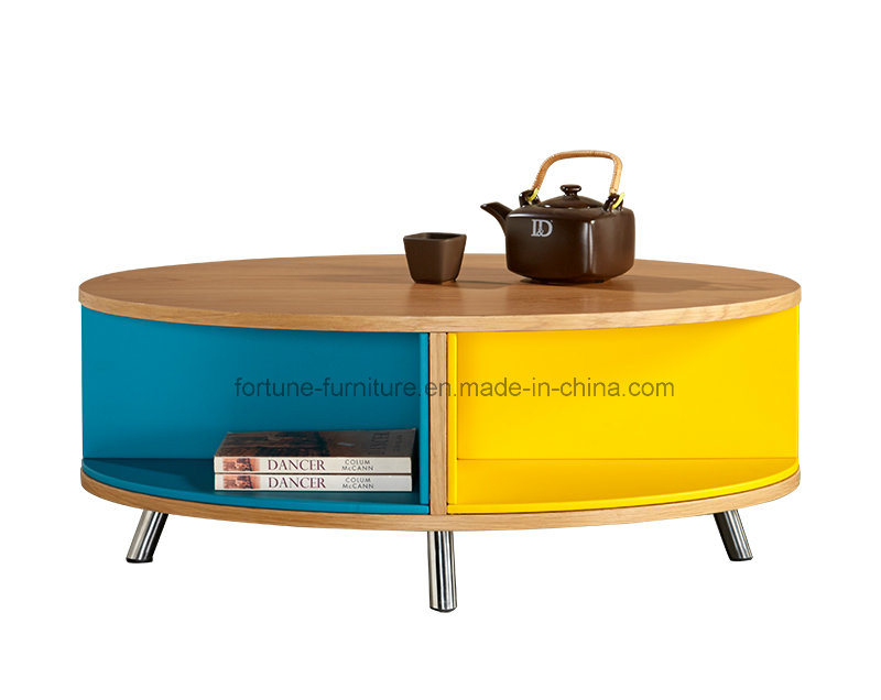Colorfull Wooden Round Coffee Table with Steel Feetu (Soldier 501)