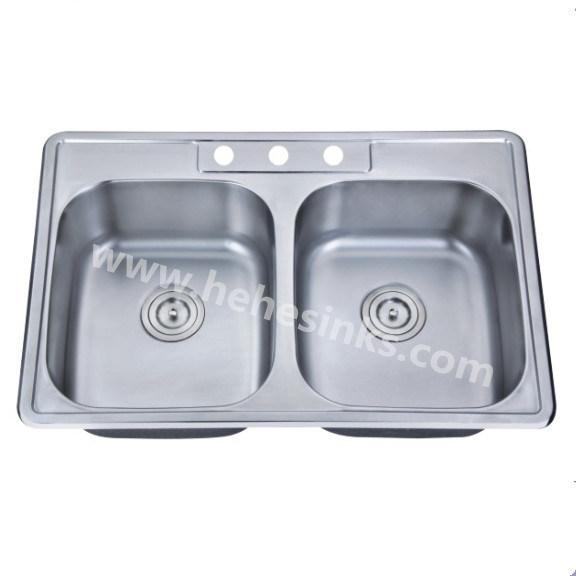 One Piece Double Bowl Topmount Stainless Steel Sink, Kitchen Sink (8456)