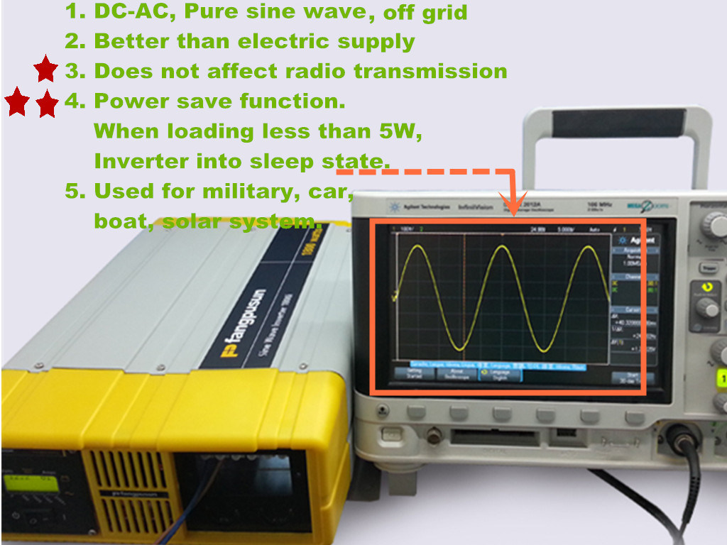Prosine 1800 Fangpusun 12VDC to 110V/220VAC Signel Phase Pure Sine Wave Car Power Inverter 1800W
