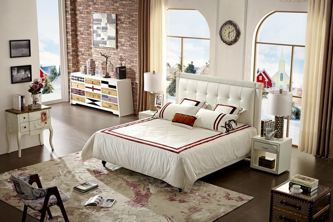 Modern Soft Bed Leather Headboard Bedroom Furniture Queen Size Bed