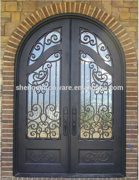 Ormamental Custom Round Top Wrought Iron Double Doors Made in China (UID-D016)