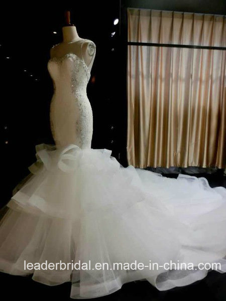 Mermaid Wedding Dress Ruffled Organza Beading Lace Custom Made Bridal Gowns A1767