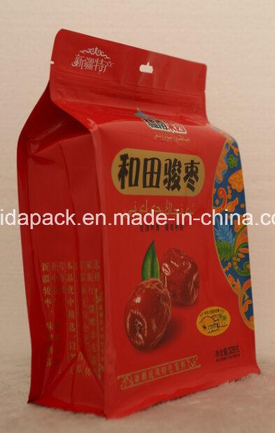 Plastic Quad Food Packaging Flat Bottom Bag with Zipper
