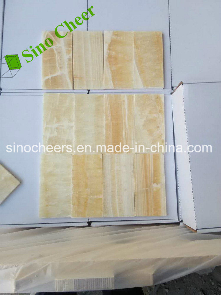 Professional Orange Yellow Honey Onyx Marble Stone Floor Wall Tiles