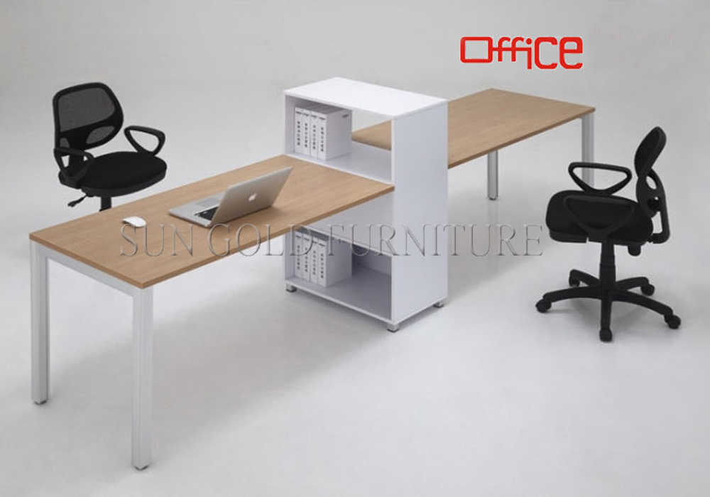China wooden office desk simple office table two person for Bureau design 2 personnes