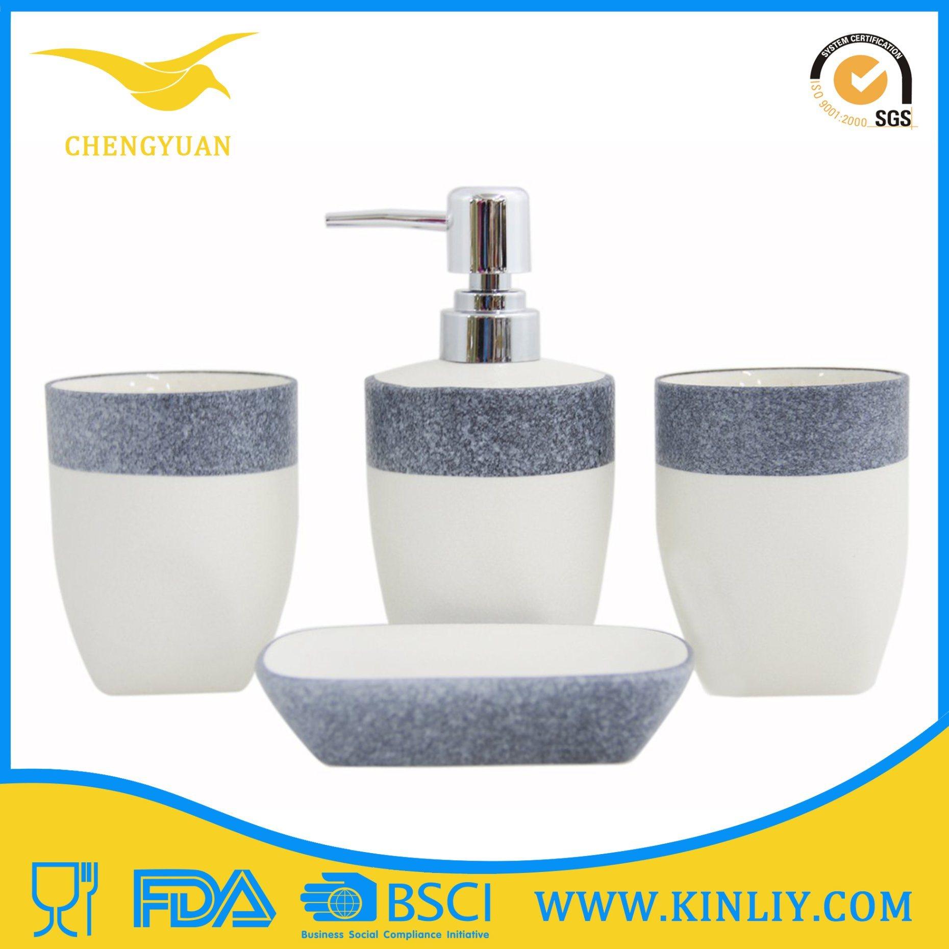 New Design Ceramic Glazed Bath Set Lotion Dispenser Bathroom Accessory