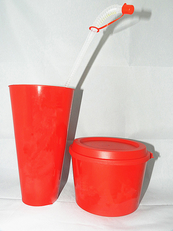 Plastic Popcorn Pail and Straw Cup (SHPS002)