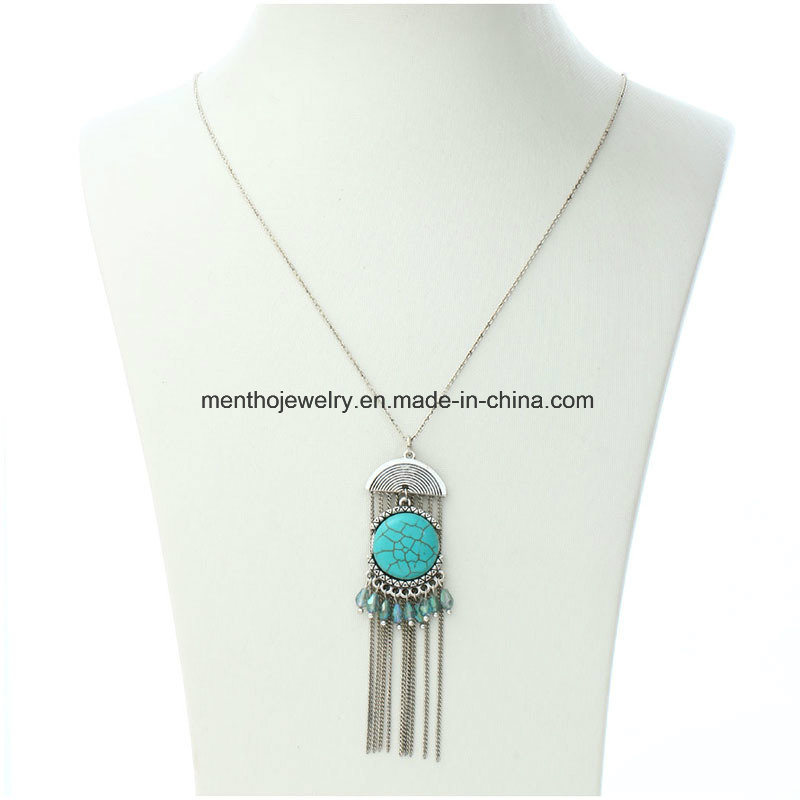 All-Match Sweater Chain Tassel Retro Ethnic Style Turquoise Necklace Jewellry