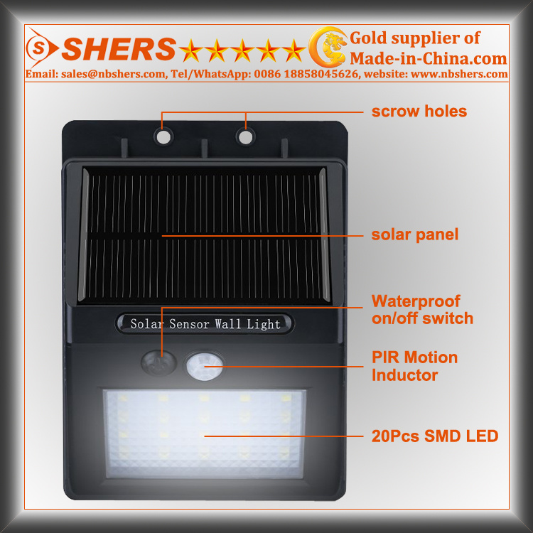 20 SMD LED Solar Motion Sensor Light for Outdoor (SH-2600)