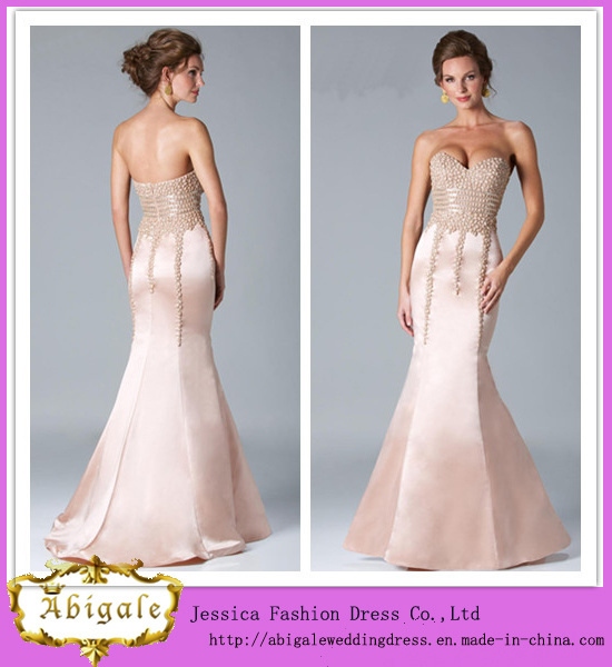 2014 New Fashion Elegant Unique Sheath Sweetheart Low Back Floor Length Beaded Bodice Long Satin Formal Evening Gowns (MN1423)
