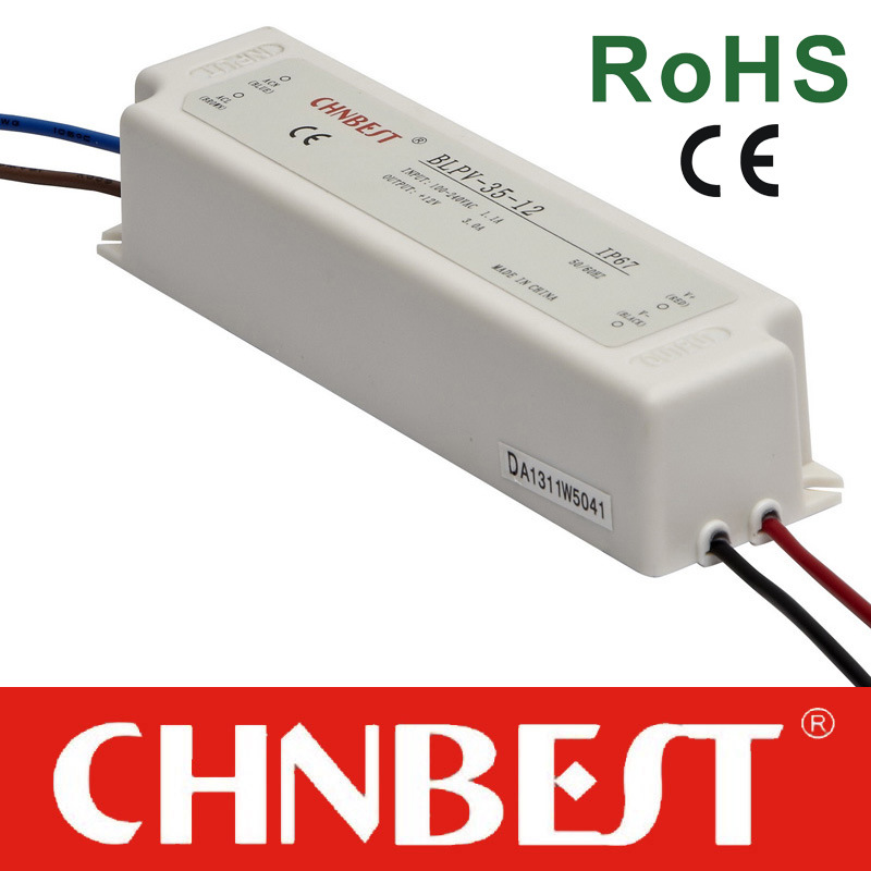 35W 12VDC Waterproof IP 67 Single Output Switching Power Supply with CE and RoHS (BLPV-35-12)
