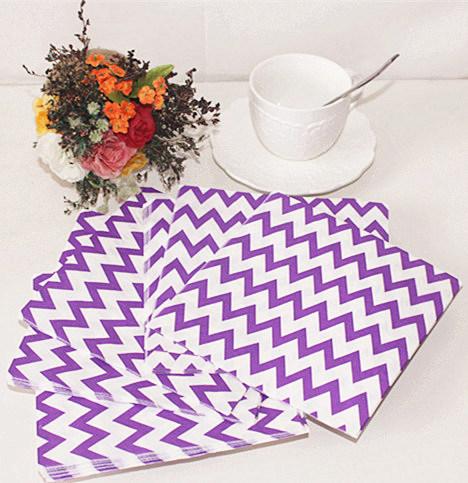 Purple Chevron Design Paper Napkin Party Decoration