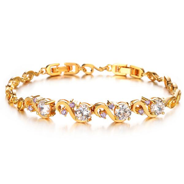 18k Gold Over Silver Cubic Zirconia Diamond Crystal Bracelets & Bangles