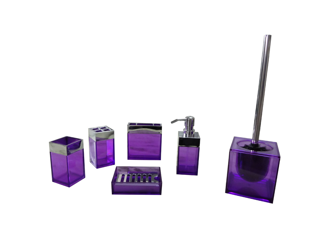 China bathroom set sbs40 purple china bathroom set for Light purple bathroom accessories