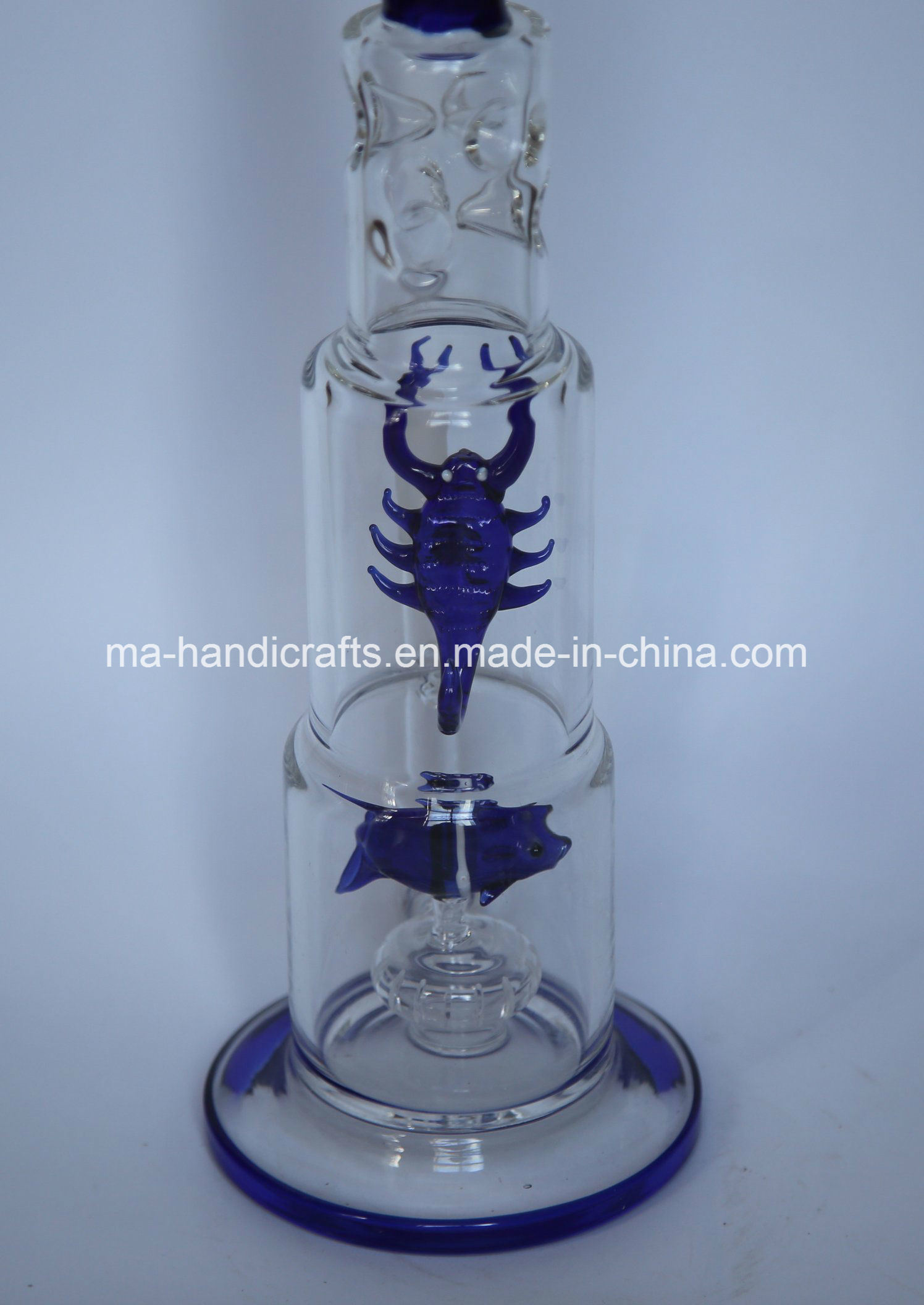 "16"" Ice Pinches Glass Water Hookah Pipes with Fish-Scorpion"