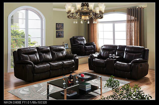 Living Room Luxury Hot-Selling Recliner Sofa Set with Console