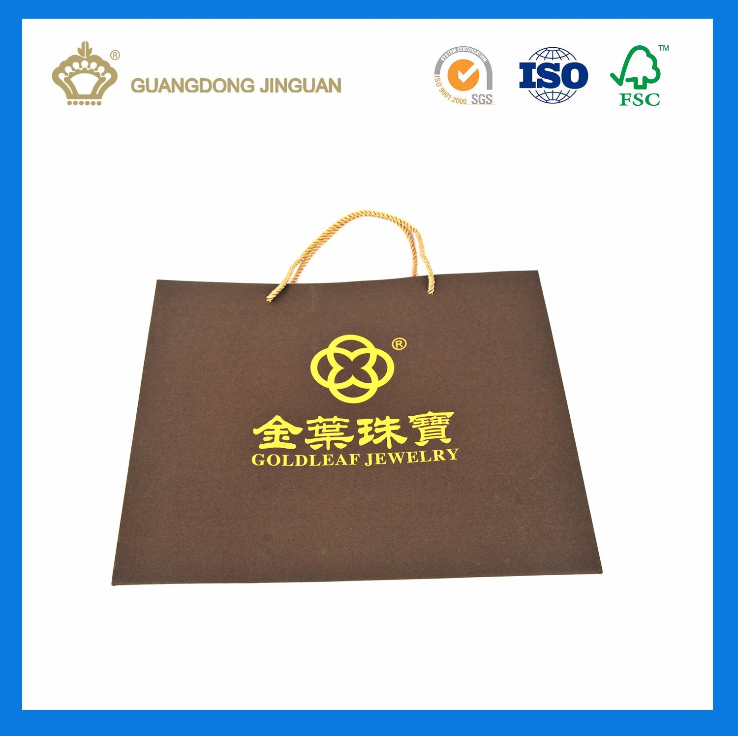 High Quality Paper Gift Bag for Jewelry (with logo hot stamping)