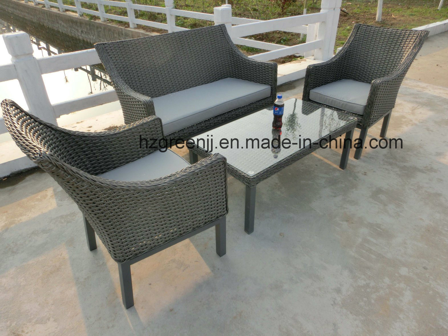 Half Moon Curve Flat Wicker Furniture