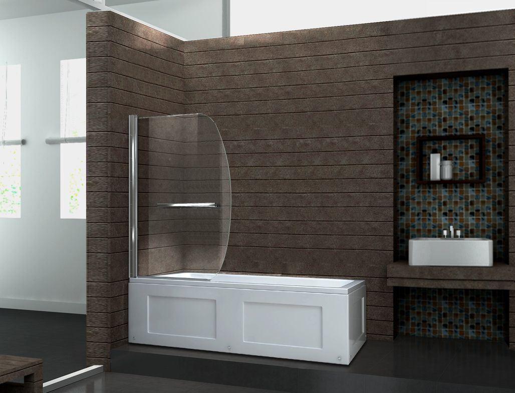 Bathtub Pivot Frame Shower Glass Swing Bath Screen Duschwand Badewanne