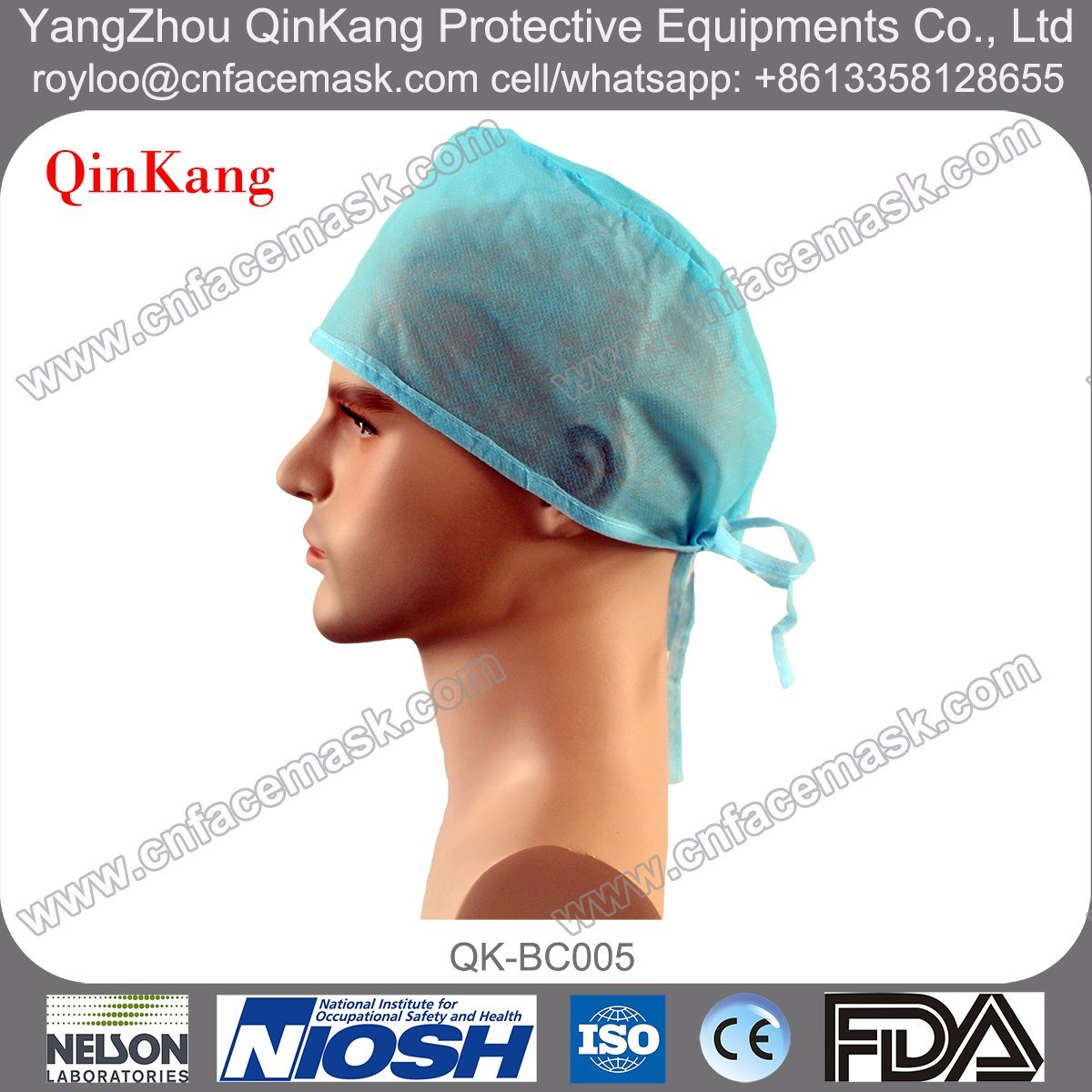 Surgical Doctor Cap, Medical Cap, Disposable Cap with Ties