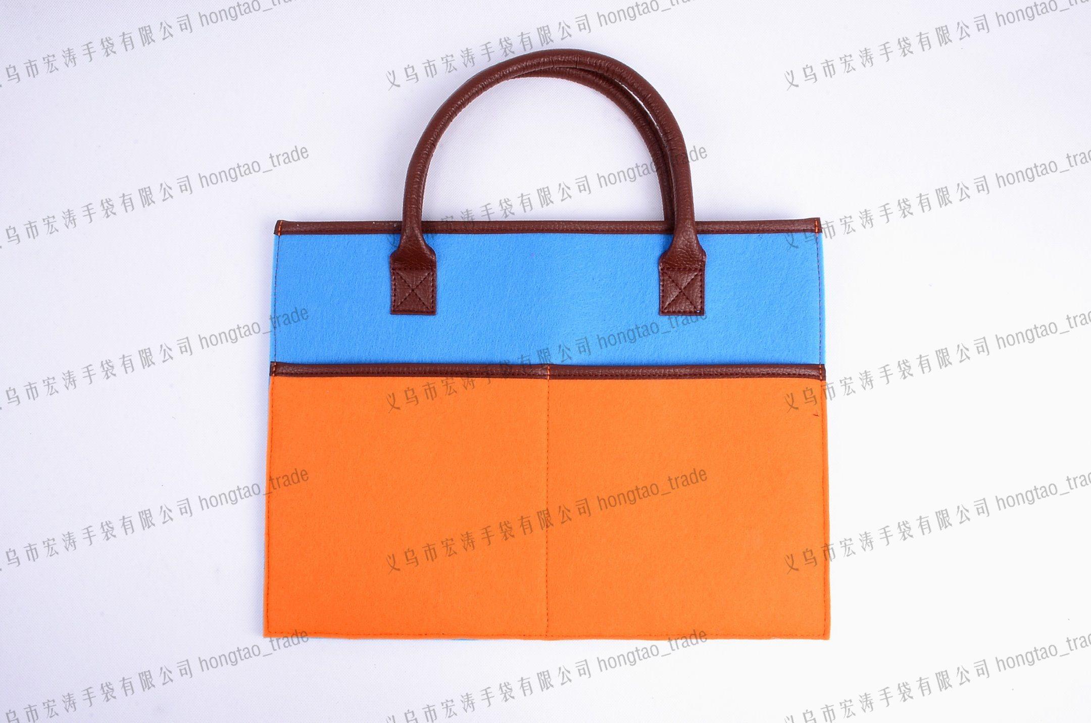 PU Hand Contrast Color Felt Handbag