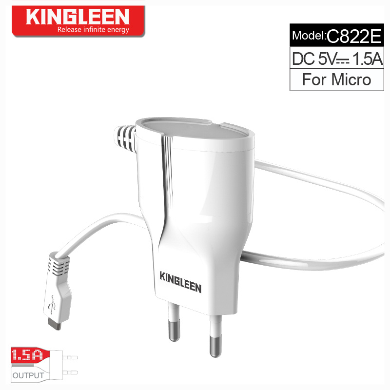 Kingleen Model C822e Charger Micro/ Smart Direct Charge 1.2m Wire 5V1.5A Factory Direst Export to Europe