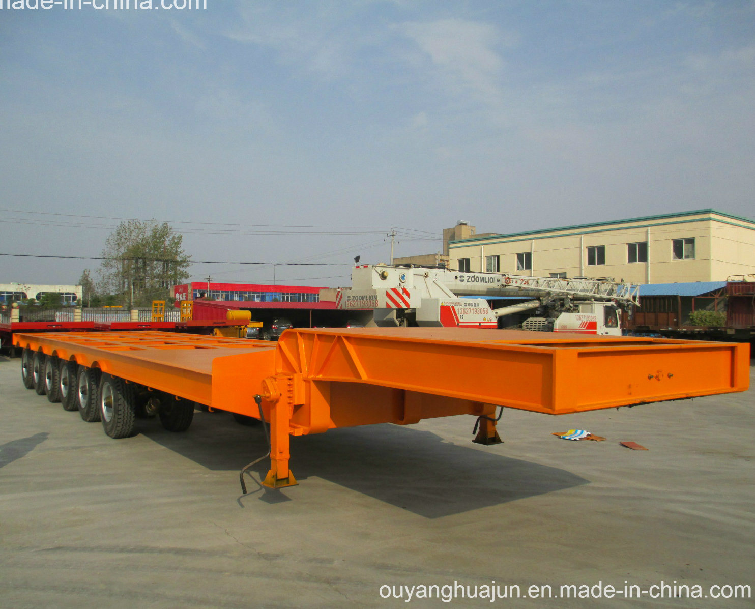 2 Axles Low Bed Vehiche Semitrailer