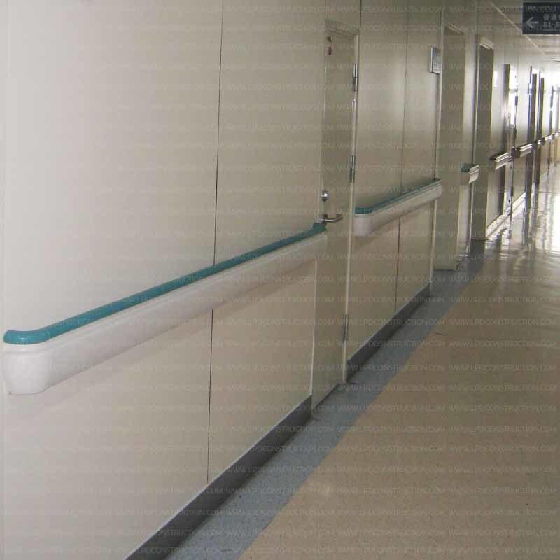 143mm Hospital Corridor Anti-Collision PVC and Aluminum Handrail
