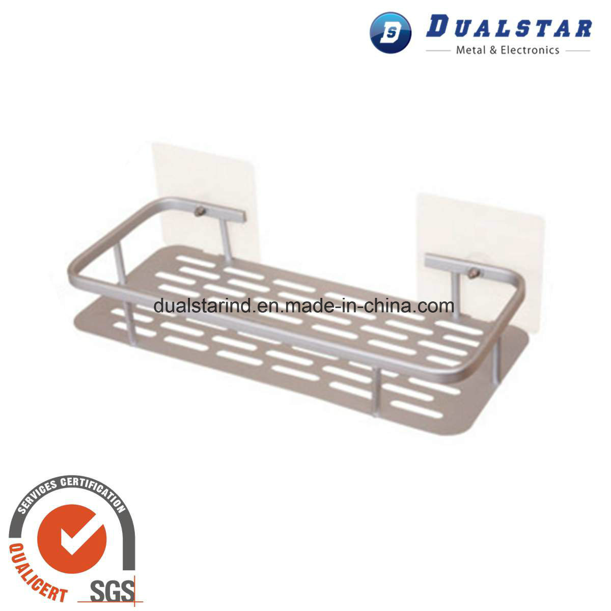 Suction Cup Type Single Layer Storage Rack for Bathroom