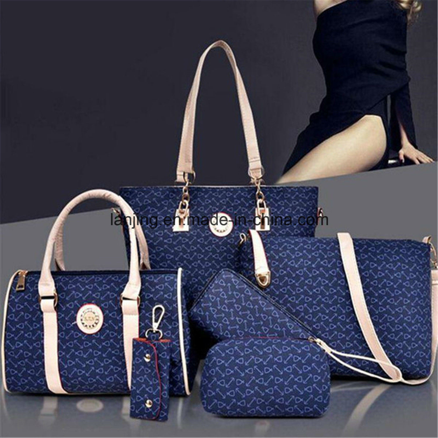 New Fashion Women 6PCS Handbag Shoulder Bags Tote Messenger Bag
