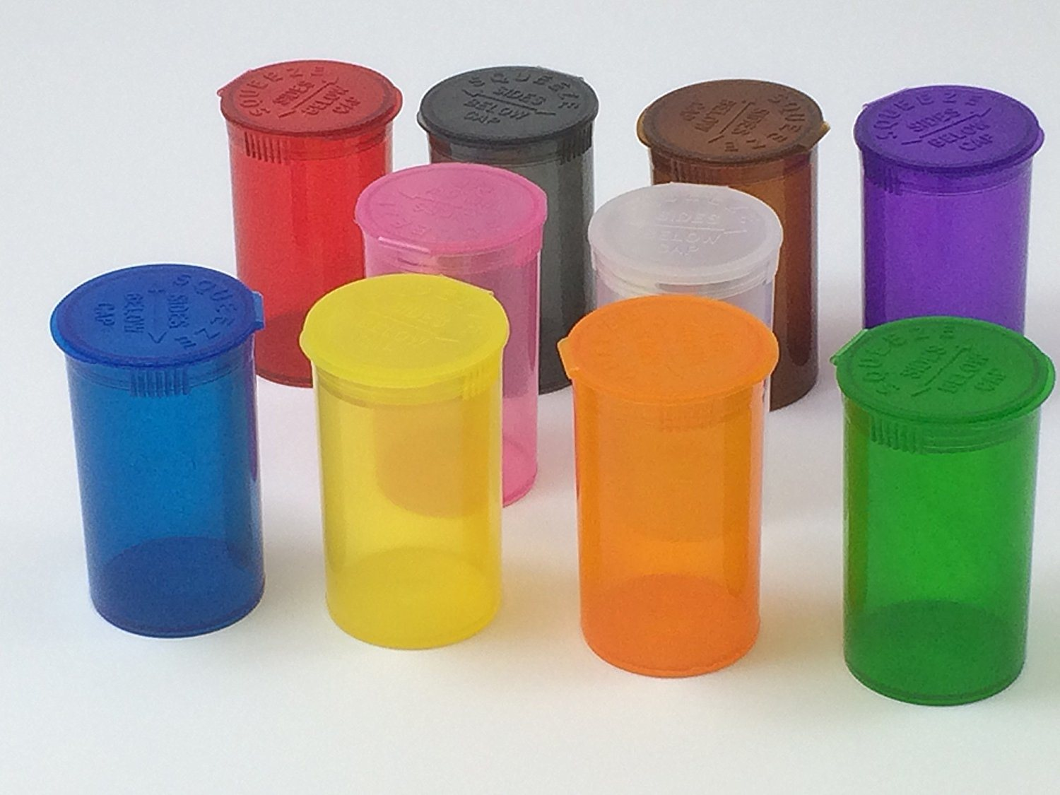 13 DRAM Pop Top Vial Squeezies Squeeze-Top Pill Bottles Rx Pill Bottles Prescription Crafts Coins Storage Medicine Containers 10 Assorted Colors You Pick