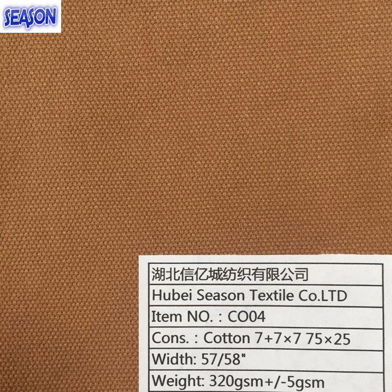 Cotton 7+7*7 75*25 320GSM Dyed Plain Weave Cotton Fabric Cotton Canvas for Workwear