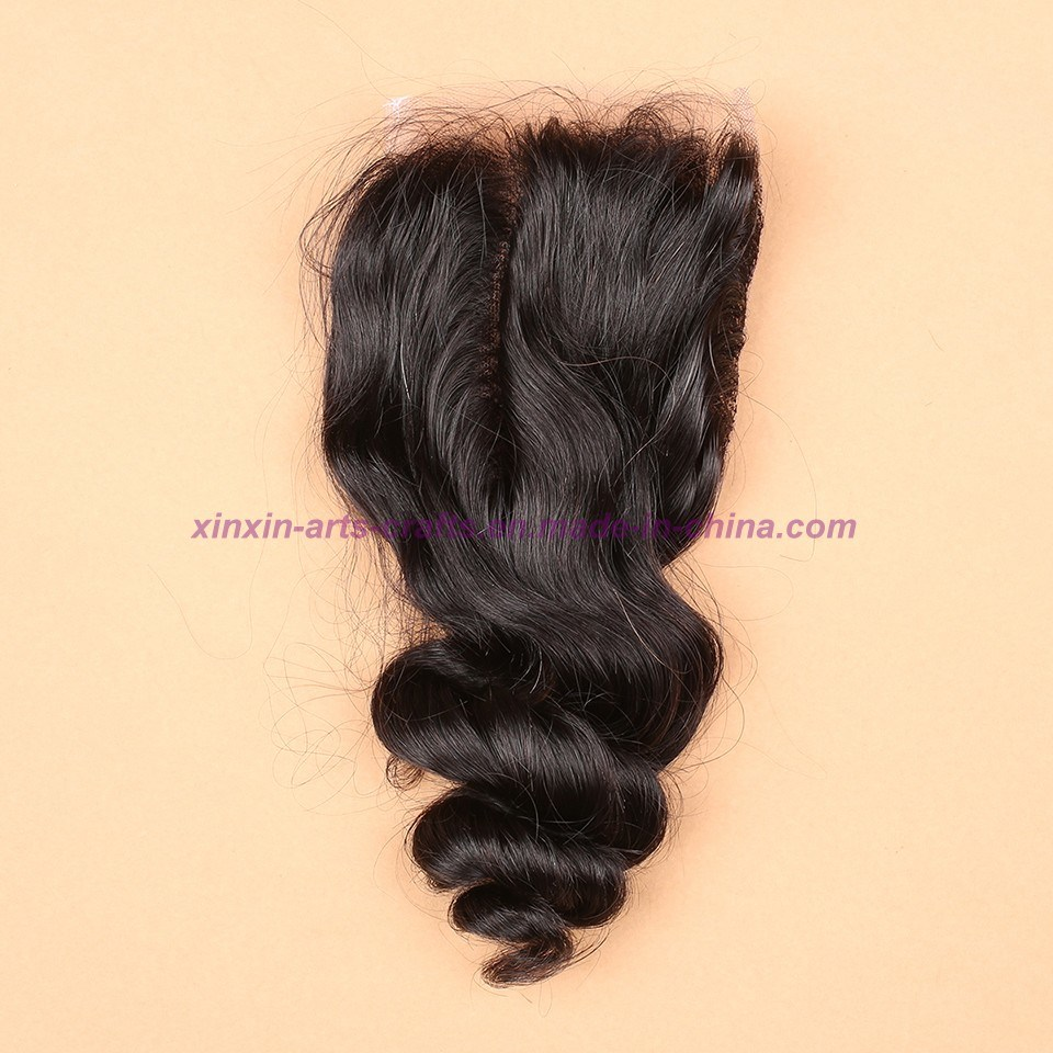 3/4 Bundles Malaysian Virgin Hair Weft Loose Wave with Silk Base Closure Wavy Hair Extensions with Silk Base Closure