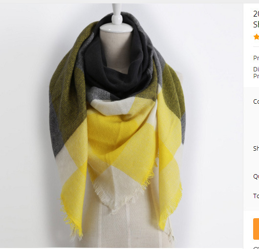 Hot Sale Cashmere Shawl Lady Fashion Square Plaid Scarf 100% Acrylic