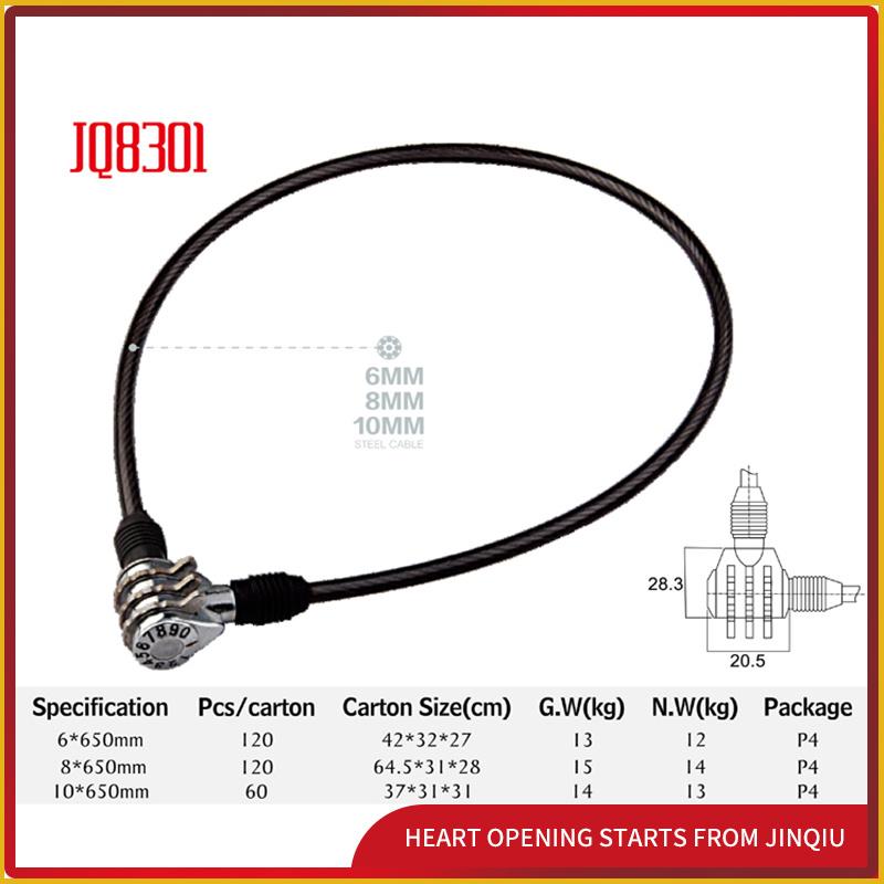 Jq8301 Black Color Lock Security Bicycle Lock Password Lock