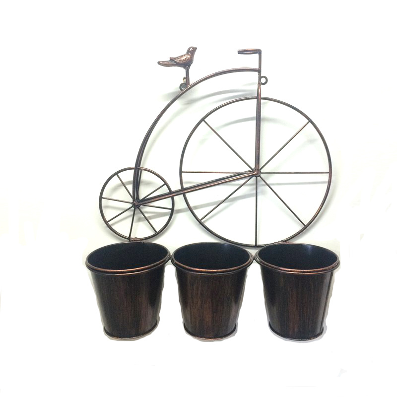 Wall Decoration Bird Riding Bike Metal Flowerpot for Garden