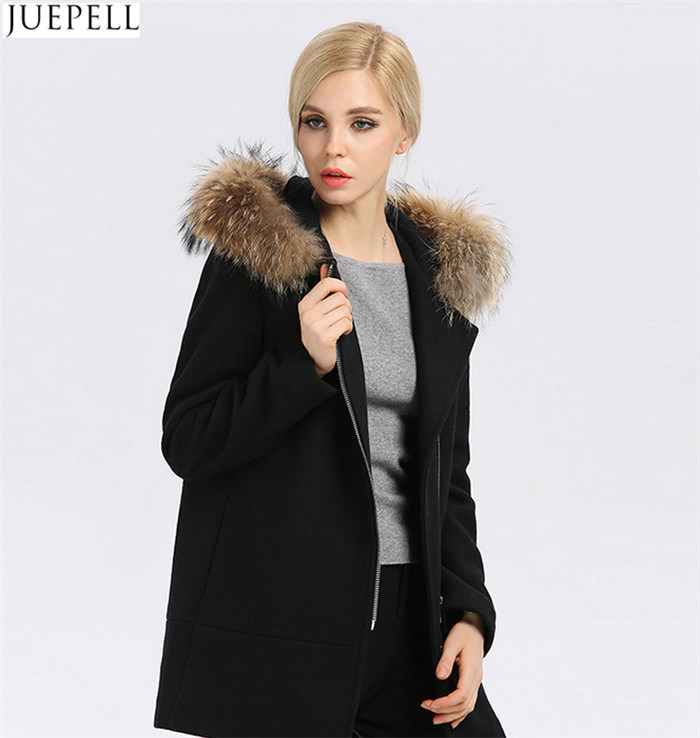 Europe Women Coat New Winter Long Women′s Wool Hooded Fur Collar Fur Women Coat