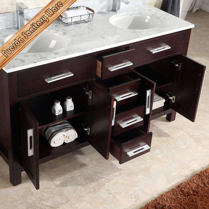 Solid Oak Wood Floor Mounted Double Sinks Bathroom Furniture